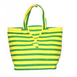 Cabas Bag Natte Pvc Green Original Artisanal Yellow