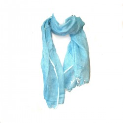 Blue Scarf Cotton Roots Lin