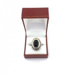 Silver Ring Onyx Bijou Pierre Noire