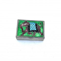 Silver Box Emaille Elephant Pilulier