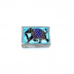 Pilulier Emaille Elephant Silver Box