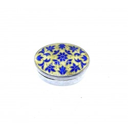 Pilulier Oval Box Silver EmailLe India