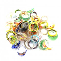 Lot Rings Glass Murano Ethnic Resale Jewelry