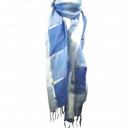 Silver Blue Shawl Giant Scarf Long Plaid Etole India