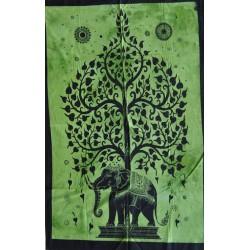 Tenture Arbre Vie Éléphant Inde Vert