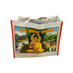 Canvas tote bag with a Buddha image.