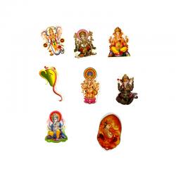 Set of 8 Indian deity ganesh stickers.