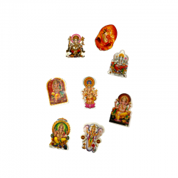 Lot of stickers representing the god ganesh.