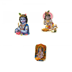 Sticker of Baby Krishna with his flute.