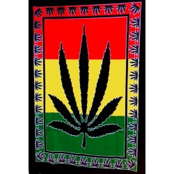 Tenture Batik Leaf Cannabis Rasta Colors Mural Decoration