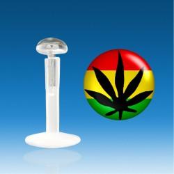 Labret Bio Plastic Silver 1.2 mm Sheet Cannabis Piercing Rasta Fast 48 H