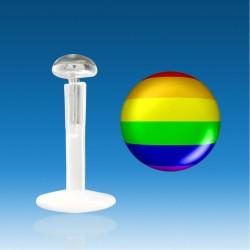 Labret Bio Plastic Silver 1.2 mm Rainbow Universal Piercing Fast 48 H