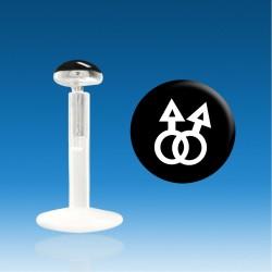 Labret Bio Plastic Silver 1.2 mm Homo Masculine Piercing Fast 48 H