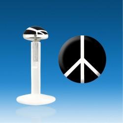 Labret Bio Plastic Silver 1.2 mm Peace Love Love Piercing Fast 48 H