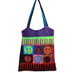 Cotton Peace Love Patchwork India Cool Cabas India Goa Bag
