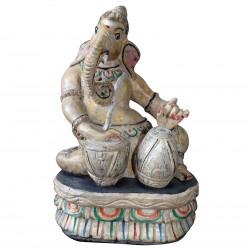 Statue Ganesh Wood Divinity India God Elephant Sculpture