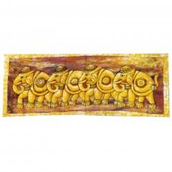 Tenture Batik Frieze Elephants Herd Mural Fabric Decoration