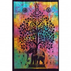 Tenture Tree Elephant Life India Craft Batik Wall Decoration