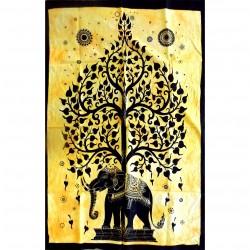 Tenture Tree Elephant Life India Craft Batik Wall Decoration