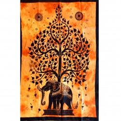 Tenture Tree Elephant Life India Orange