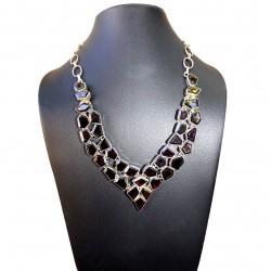 Silver Necklace 925 Onyx Noir Pierre Jewelry Women's Chic Authentic