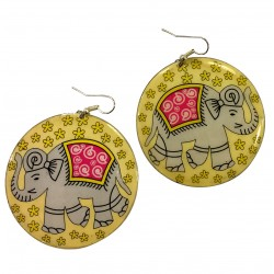 Earrings Elephant Jewelry Woman India Rajasthan
