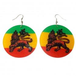 Earrings Rasta Reggae Marley Lion Judah Jewelry Object