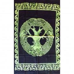 Tenture Tree Life Symbol Green Male Woman Batik Indian India Wall Decoration