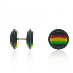 Fake Plug Rasta Piercing Ear Jewelry Marley Reggae Loops