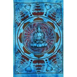 Tenture Buddha Divinity God Blue Batik Buddhism