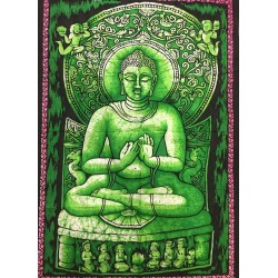 Tenture Batik Buddha Green Buddhism Decoration