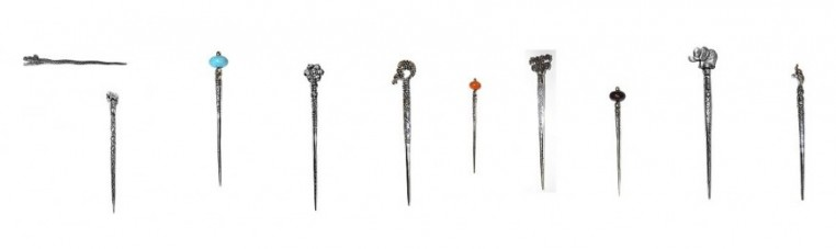 Metal hair spades.