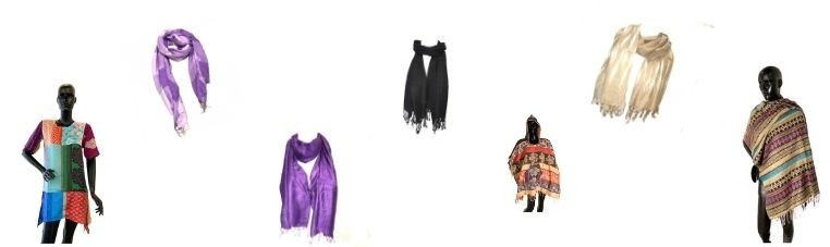 Clothes such as caps, ponchos, plaids, scarves, scarves, hats ....