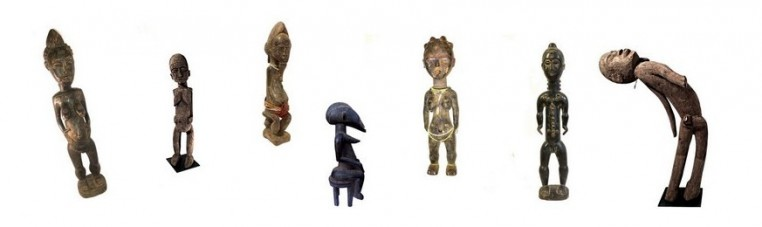 First African art statues, representing sages and dignitaries, often made of wood.