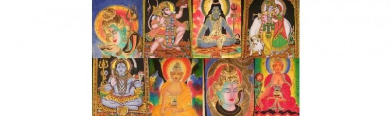 Batik fabrics representing Indian deities such as Buddha, Ganesh, Anuman, Krishna or Shiva.