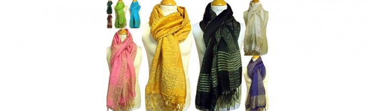 Silk scarves with gold eders.