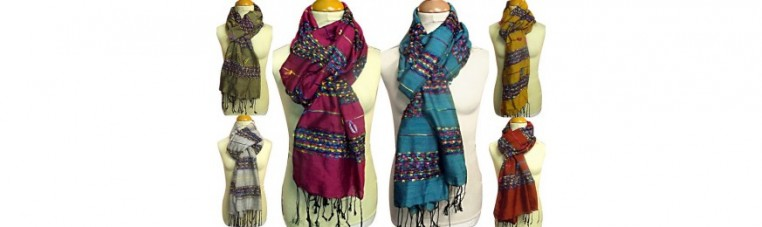 Silk and ray scarves with multicolored stripes.