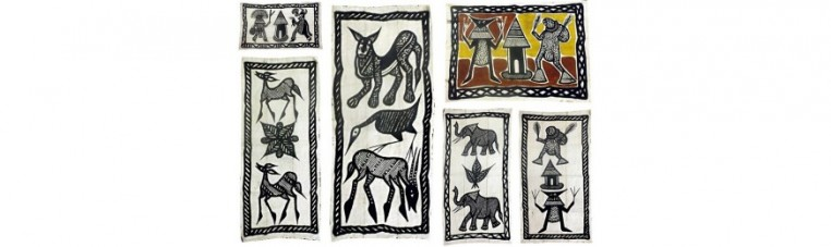 Korhogo or bogolan roofs, cotton, representing animals, geometric signs or Ivorian dancers.