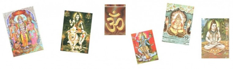 Postcards from India depicting Hindu deities.