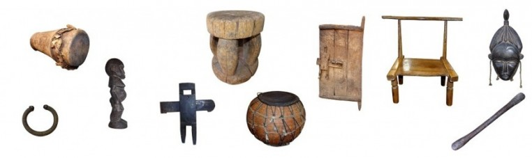 The first art is a set of chairs, stools, statues and ancient masks from Africa or Asia.