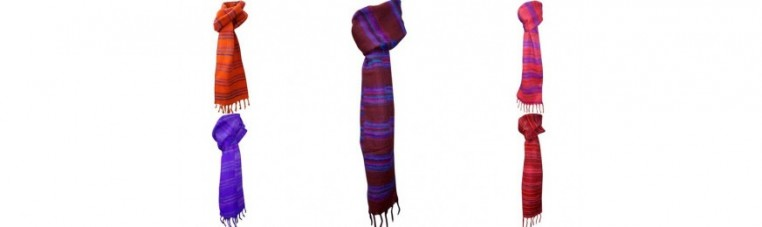 Himalayan scarves in synthetic wool.