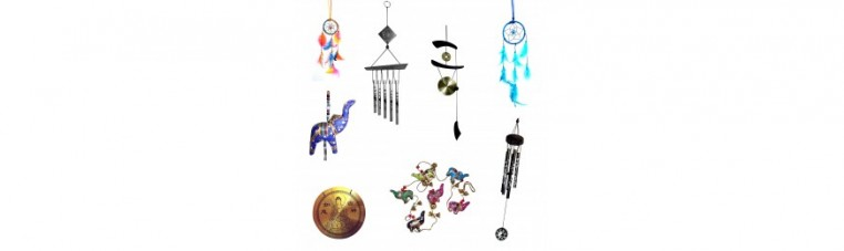 Objects to hang in houses or gardens, chimes or mobiles.