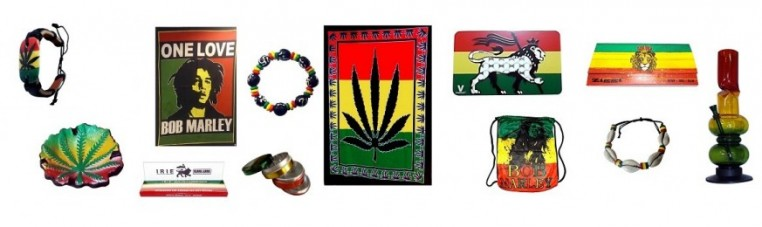 Objects in the colors of the Rasta movement.