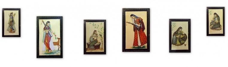 Wood paintings made in Rajasthan.