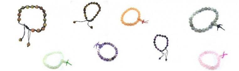 Bracelets in real stones.