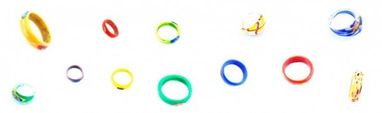 Handmade glass rings made in India.
