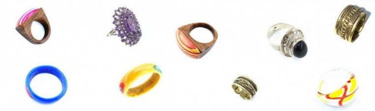 Rings of various materials and quality.