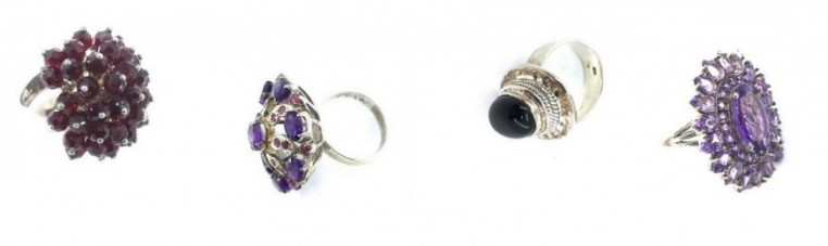 Indian rings in silver 925 with precious stones or semi.