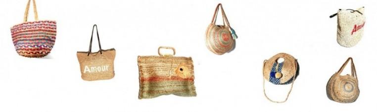 Bags and beach or promenade bags, in natural materials.