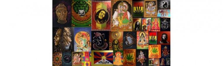 The fabric batiks usually represent gods, deities, singers, idols, famous people or logos.